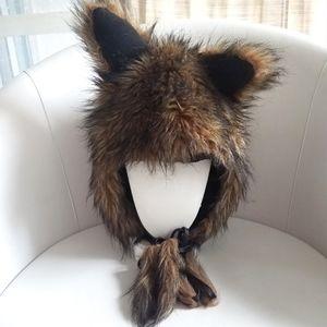 Brown Wolf Ears Winter Faux Fur Tie-Down Hood Hat